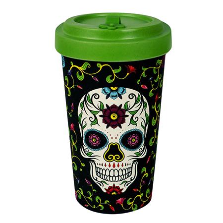 "Vaso de bambú con tapa Mexican Skulls 500 ml. ""Wood Way"""