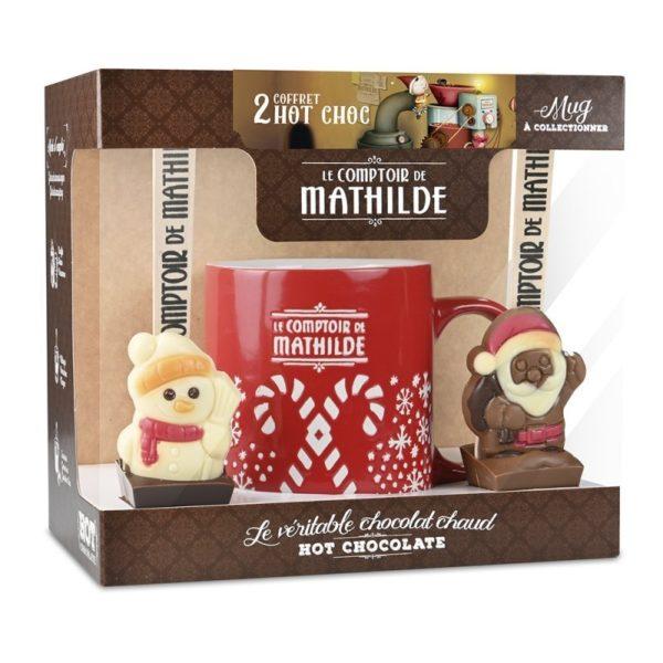 """Surtido dos cucharas hot chocolate 2×30 gr. con taza Navidad roja """"Le Comptoir de Mathilde"""""""
